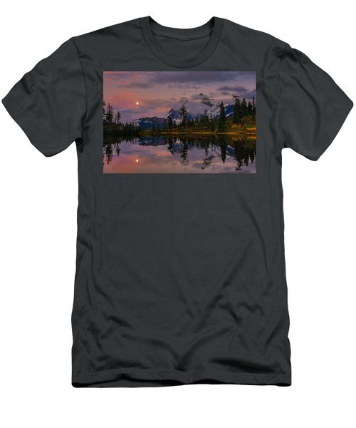 Bloodmoon Rise Over Picture Lake Men's T-Shirt (Slim Fit) by Eti Reid