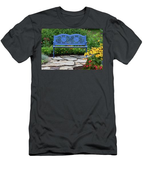 Blue Bench And Stone Path In A Flower Men's T-Shirt (Athletic Fit)