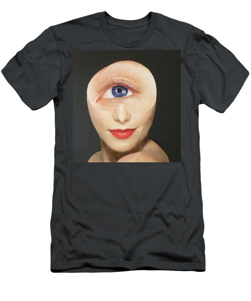 Men's T-Shirt (Slim Fit) featuring the mixed media Blue Eye Beauty Cutie by Douglas Fromm