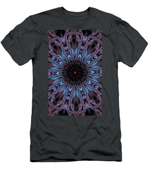 Men's T-Shirt (Slim Fit) featuring the digital art Blue Flower by Lilia D