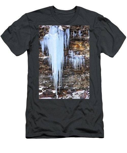 Blue Frozen Icicle Stalactites Men's T-Shirt (Athletic Fit)