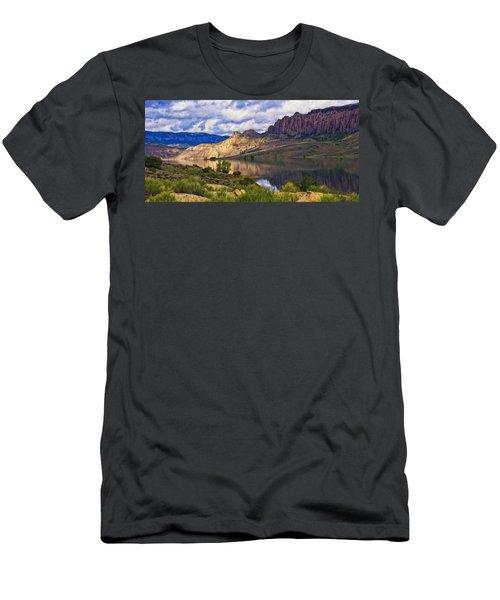 Blue Mesa Reservoir Digital Painting Men's T-Shirt (Slim Fit) by Priscilla Burgers