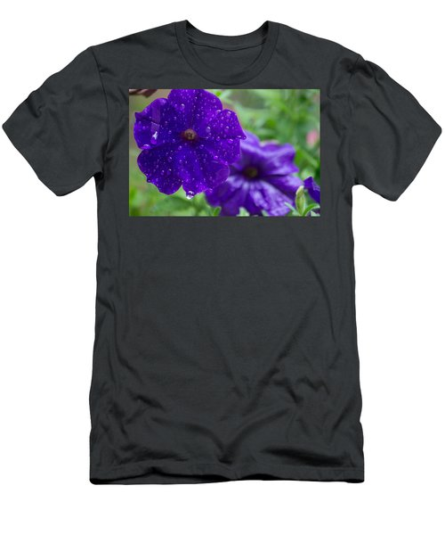Blue Pansies After A Rain Men's T-Shirt (Athletic Fit)