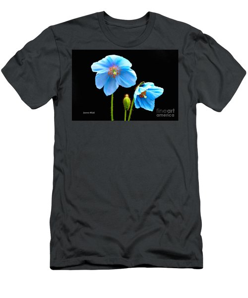 Men's T-Shirt (Slim Fit) featuring the photograph Blue Poppy Flowers # 4 by Jeannie Rhode