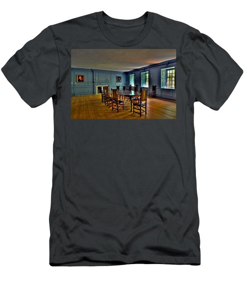 Men's T-Shirt (Slim Fit) featuring the photograph Blue Room Wren Building by Jerry Gammon