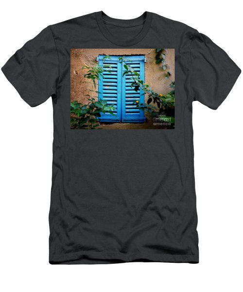 Blue Shuttered Window Men's T-Shirt (Athletic Fit)