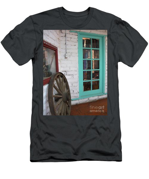 Men's T-Shirt (Slim Fit) featuring the photograph Blue Window And Wagon Wheel by Dora Sofia Caputo Photographic Art and Design
