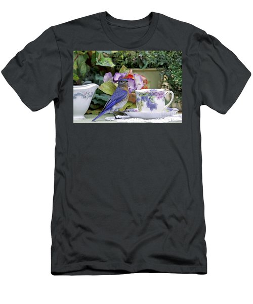 Bluebird And Tea Cups Men's T-Shirt (Athletic Fit)