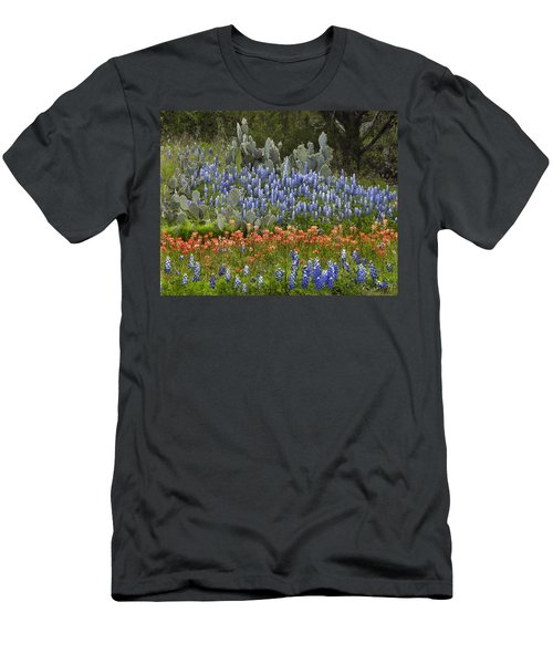 Men's T-Shirt (Athletic Fit) featuring the photograph Bluebonnets Paintbrush And Prickly Pear by Tim Fitzharris