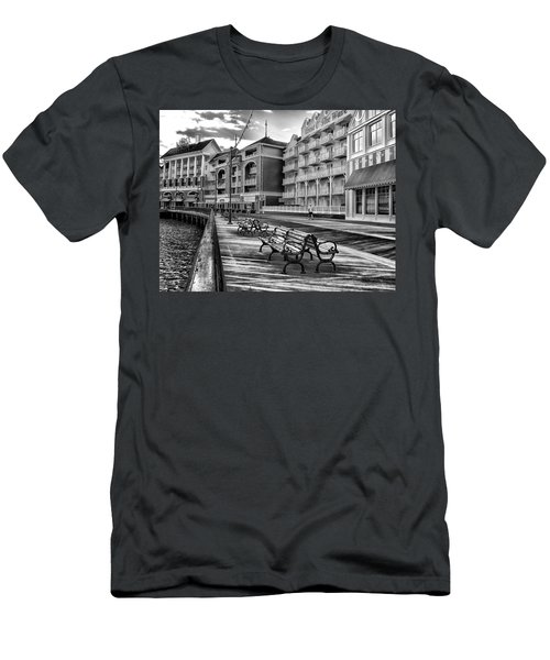 Boardwalk Early Morning In Black And White Walt Disney World Men's T-Shirt (Athletic Fit)