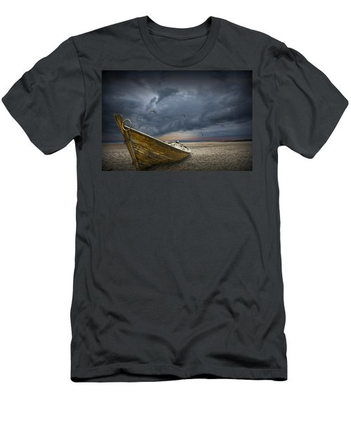 Boat With Gulls On The Beach With Oncoming Storm Men's T-Shirt (Athletic Fit)