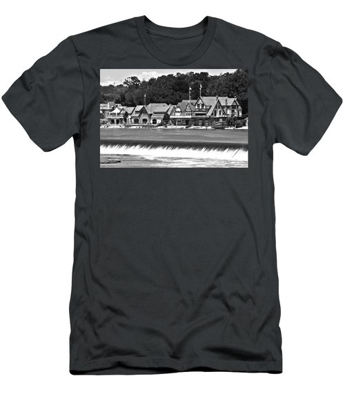 Boathouse Row - Bw Men's T-Shirt (Slim Fit) by Lou Ford
