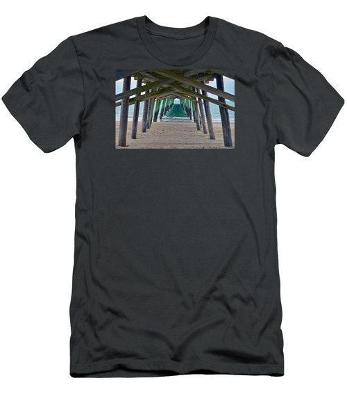 Bogue Banks Fishing Pier Men's T-Shirt (Slim Fit) by Sandi OReilly