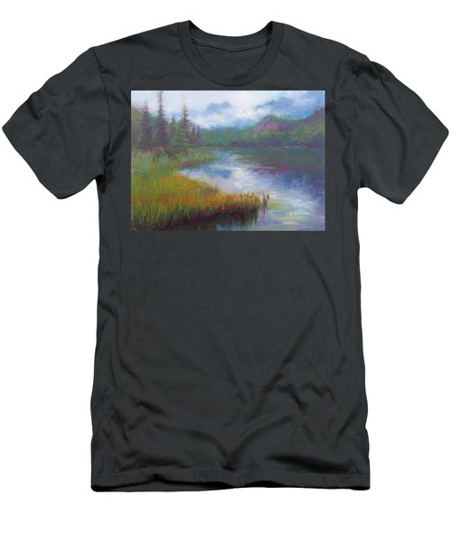 Men's T-Shirt (Athletic Fit) featuring the painting Bonnie Lake - Alaska Misty Landscape by Talya Johnson