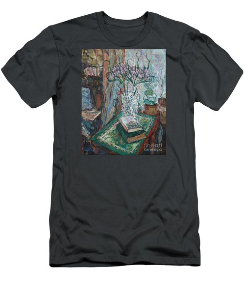 Books And Flowers Men's T-Shirt (Slim Fit) by Anna Yurasovsky