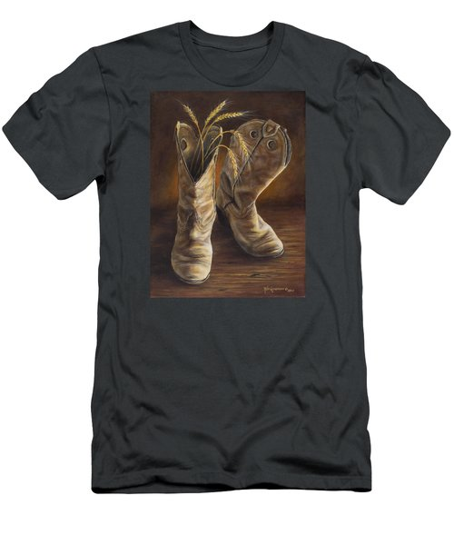 Men's T-Shirt (Slim Fit) featuring the painting Boots And Wheat by Kim Lockman