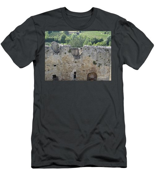 Men's T-Shirt (Slim Fit) featuring the photograph Bordeaux Castle Ruins With Vineyard by HEVi FineArt
