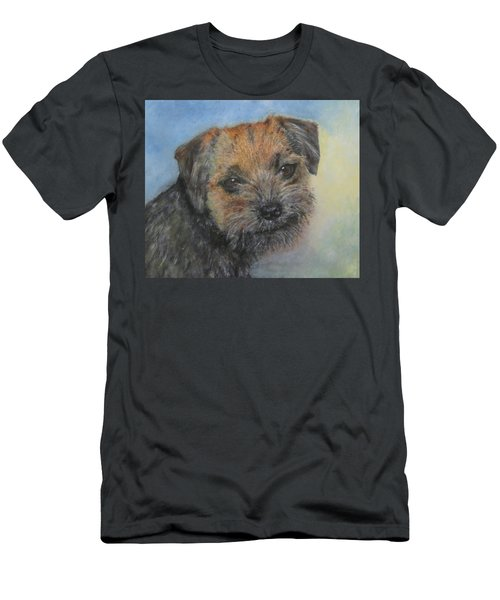Men's T-Shirt (Slim Fit) featuring the painting Border Terrier Jack by Richard James Digance