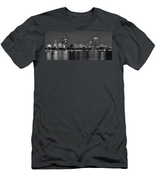 Boston Back Bay Skyline At Night Black And White Bw Panorama Men's T-Shirt (Athletic Fit)