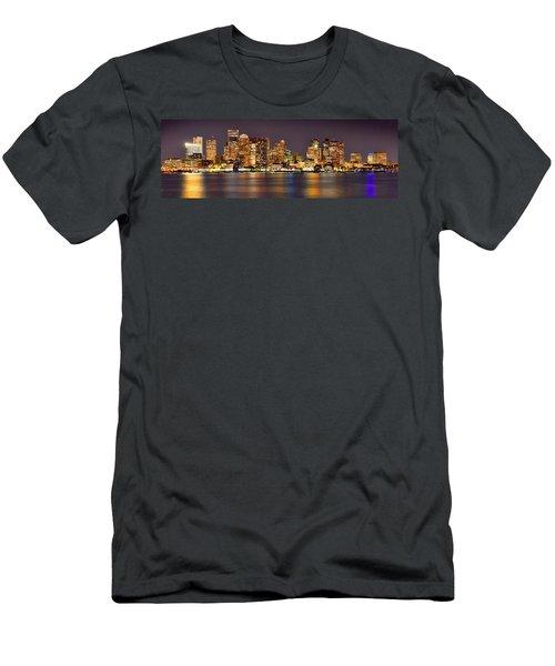 Boston Skyline At Night Panorama Men's T-Shirt (Slim Fit)