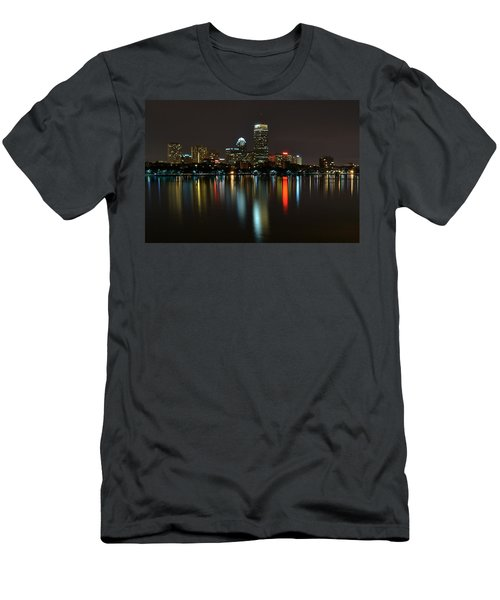 Boston Skyline By Night Men's T-Shirt (Athletic Fit)