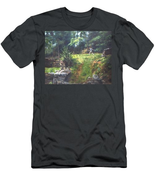 Men's T-Shirt (Slim Fit) featuring the painting Bouts Of Fantasy by Lori Brackett