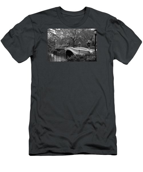 Bow Bridge Nyc In Black And White Men's T-Shirt (Slim Fit) by Christiane Schulze Art And Photography