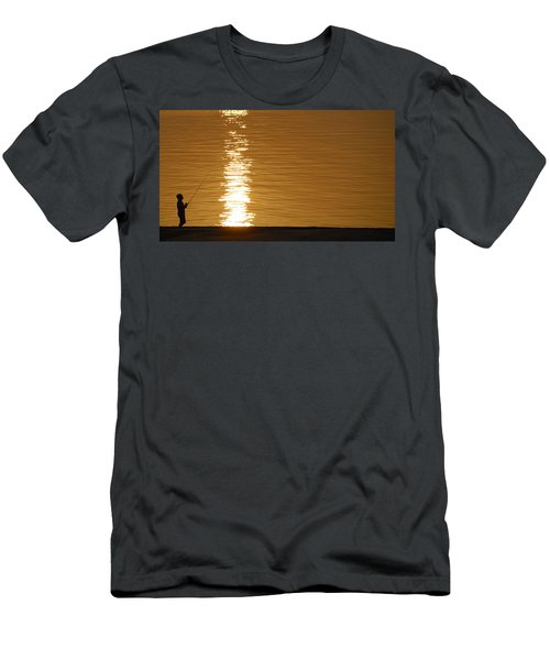 Boy Fishing At Sunset Men's T-Shirt (Athletic Fit)