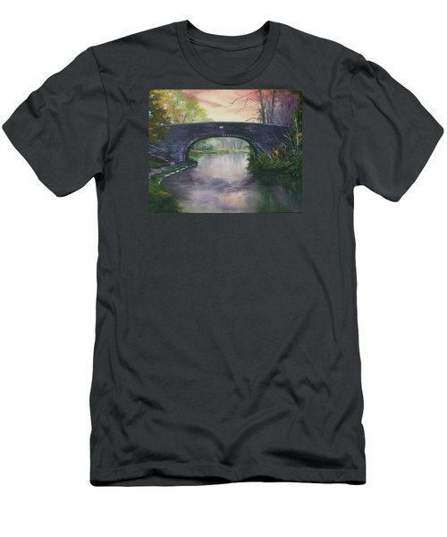 Men's T-Shirt (Slim Fit) featuring the painting Bridge 91 At Fradley Canal Staffordshire Uk by Jean Walker
