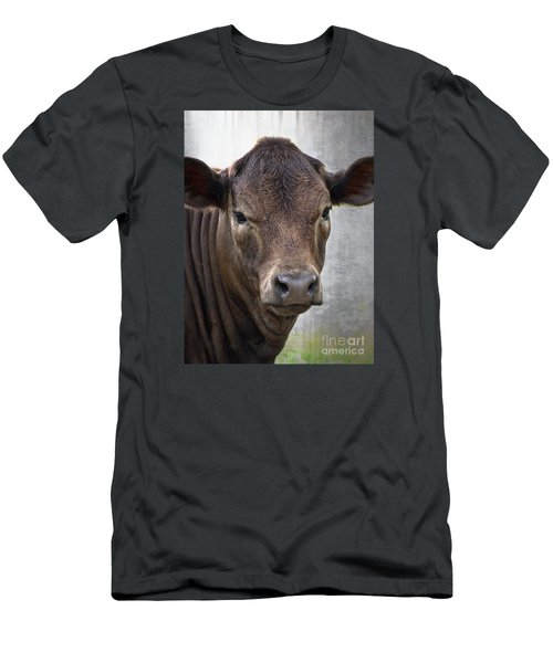 Men's T-Shirt (Slim Fit) featuring the photograph Brown Eyed Boy - Calf Portrait by Ella Kaye Dickey