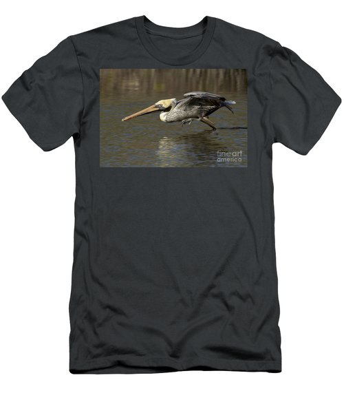 Men's T-Shirt (Slim Fit) featuring the photograph Brown Pelican Fishing Photo by Meg Rousher