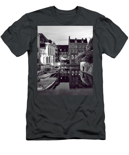 Bruges Canal In Black And White Men's T-Shirt (Athletic Fit)