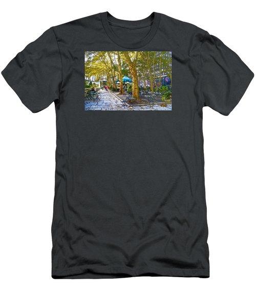 Bryant Park October Men's T-Shirt (Slim Fit) by Liz Leyden