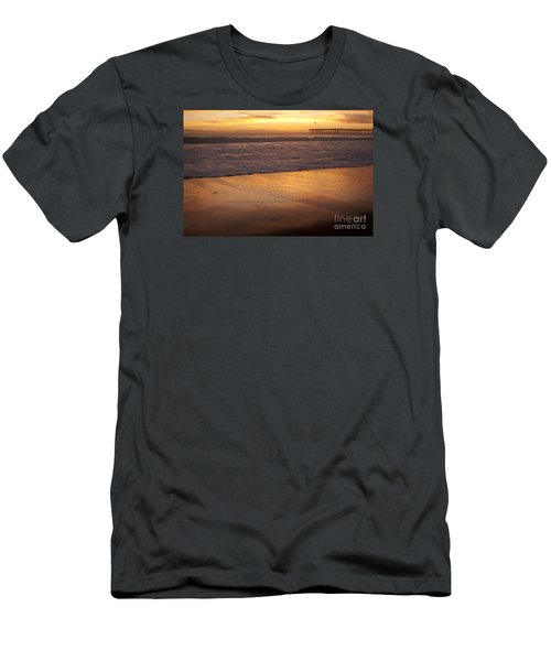 Men's T-Shirt (Slim Fit) featuring the photograph Bubbles On The Sand With Ventura Pier  by Ian Donley