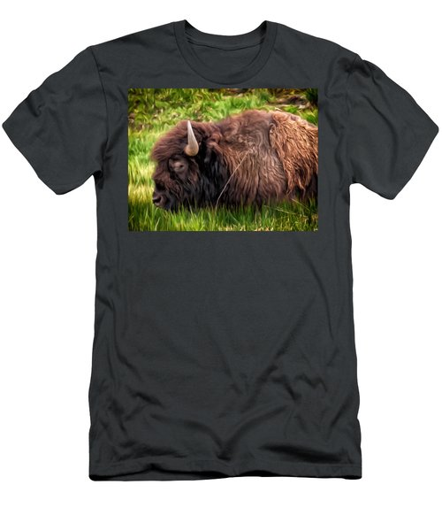 Men's T-Shirt (Slim Fit) featuring the painting Buffalo Cat Nap by Michael Pickett
