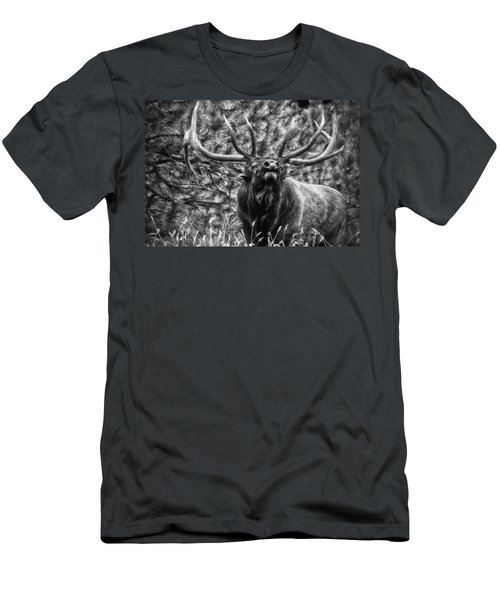 Bull Elk Bugling Black And White Men's T-Shirt (Athletic Fit)