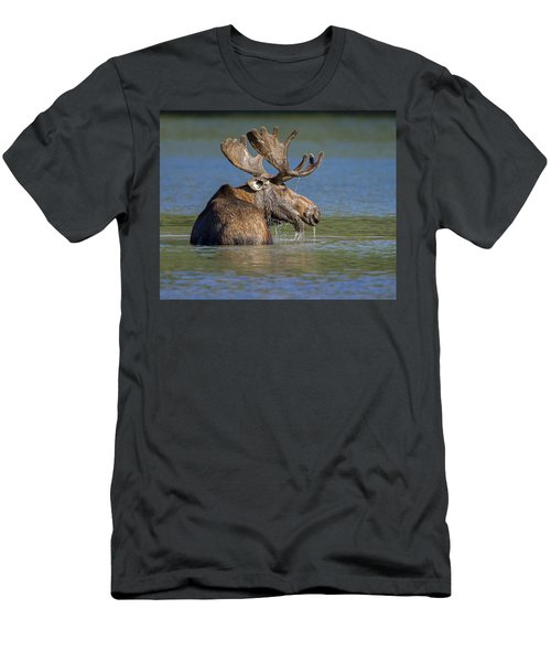 Men's T-Shirt (Slim Fit) featuring the photograph Bull Moose At Fishercap by Jack Bell