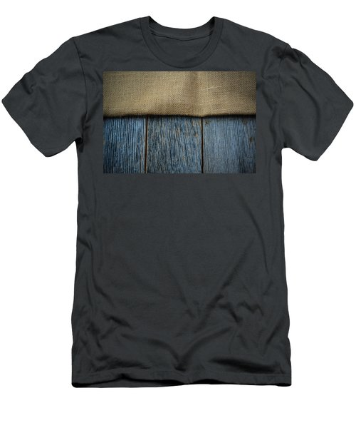 Burlap Texture On Wooden Table Background Men's T-Shirt (Athletic Fit)
