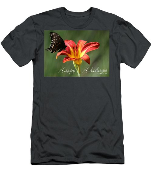 Butterfly And Lily Holiday Card Men's T-Shirt (Athletic Fit)