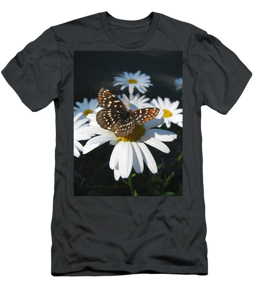 Butterfly And Shasta Daisy - Nature Photography Men's T-Shirt (Athletic Fit)