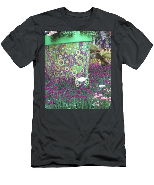 Men's T-Shirt (Slim Fit) featuring the photograph Butterfly Park Garden Painted Green Theme by Navin Joshi