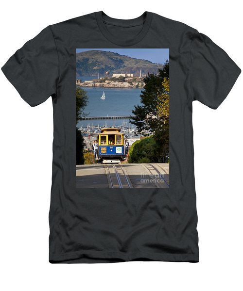 Men's T-Shirt (Athletic Fit) featuring the photograph San Francisco Cable Car On Hyde Street Print By Brian Jannsen Photography by Brian Jannsen