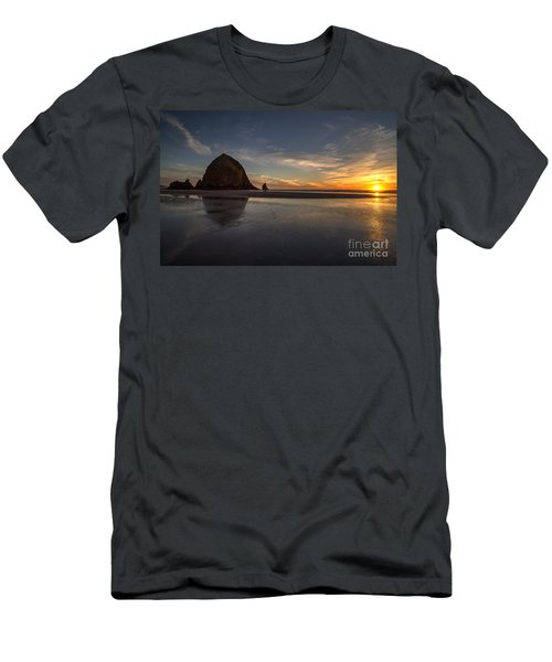 Cannon Beach Dusk Conclusion Men's T-Shirt (Slim Fit) by Mike Reid