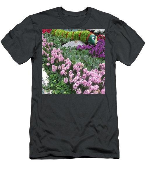 Men's T-Shirt (Slim Fit) featuring the photograph Catterpillar Large Flower Garden Vegas by Navin Joshi