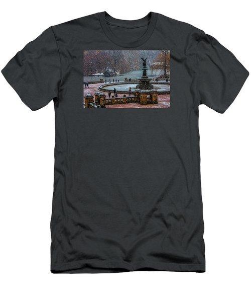 Central Park Snow Storm Men's T-Shirt (Slim Fit) by Chris Lord
