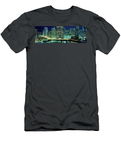Chicago Skyline At Night, Chicago, Cook Men's T-Shirt (Athletic Fit)