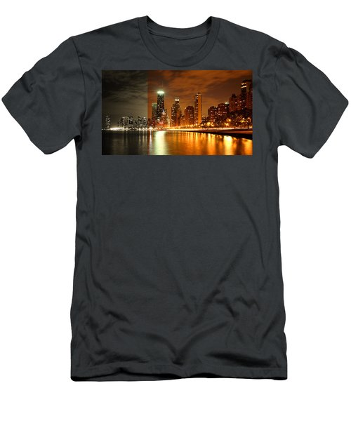 Chicago Skyline Night Amber Men's T-Shirt (Athletic Fit)