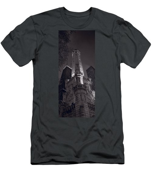 Chicago Water Tower Panorama B W Men's T-Shirt (Athletic Fit)