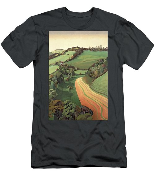 Chilcombe Bottom, Bath Oil On Canvas Men's T-Shirt (Athletic Fit)