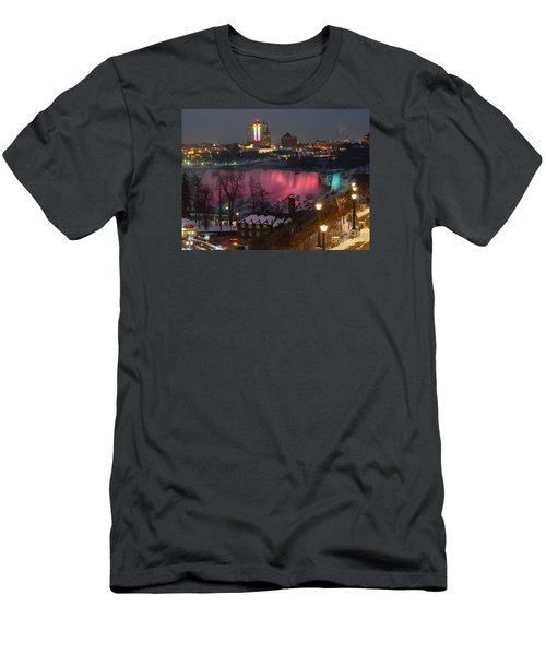 Men's T-Shirt (Slim Fit) featuring the photograph Christmas Spirit At Niagara Falls by Lingfai Leung